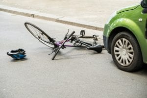 bicycle hit by car