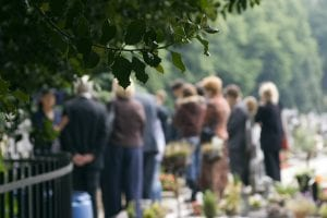 Mourners at funeral