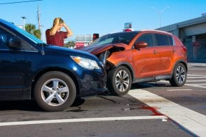 two cars in intersection accident