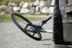 bicycle after it has been hit by a car