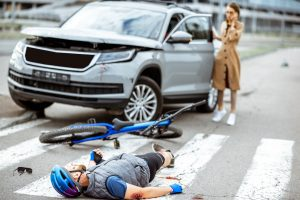 Person in bicycle accident